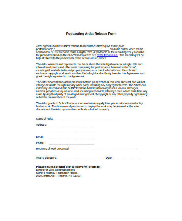 Podcast release form